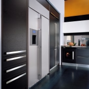 Large stainless steel side by side refrigerator set door, home appliance, interior design, black, gray