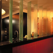 A view of the kitchen. - A view ceiling, interior design, lighting, lobby, brown, black