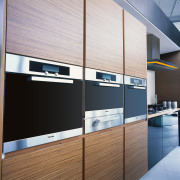 A view of the Miele showroom, designed so interior design, white, black