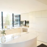 Kitchen with light coloured cabinetry with integrated hood countertop, home, interior design, kitchen, property, real estate, room, white