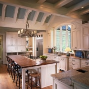 A view of the entire kitchen. - A beam, cabinetry, ceiling, countertop, cuisine classique, home, interior design, kitchen, real estate, room, brown