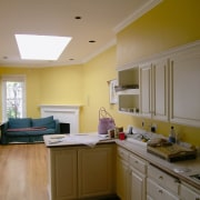 before shots of this narrow kitchen that is cabinetry, ceiling, countertop, daylighting, floor, home, interior design, kitchen, real estate, room, window, brown