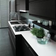Kitchen with dark gray cabinetry, light coloured countertop, countertop, interior design, kitchen, product design, sink, black