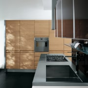 Kitchen with dark gray cabinetry along top cabinets, cabinetry, countertop, floor, home appliance, interior design, kitchen, product design, black