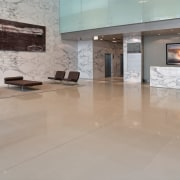 Large office foyer with natural marble cladding and floor, flooring, interior design, lobby, property, tile, wood flooring, gray