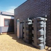 View of rain water harvesting tanks. - View facade, black