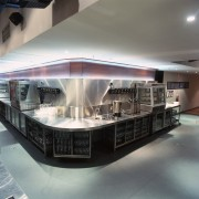 Bar and kitchen area with stainless steel benchtops, architecture, interior design, gray