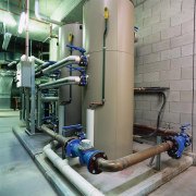 View of plant room showing hydraulic systems. - factory, industry, machine, manufacturing, pipe, pumping station, gray