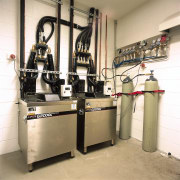 Room with glycol cooling tanks for hospitality areas. machine, white