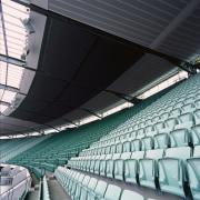 View of stadium seats and roofing with aluminium architecture, arena, auditorium, daylighting, line, net, performing arts center, sport venue, stadium, structure, black