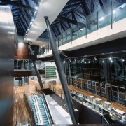 Interior of MCG stand showing extensive glazing, large architecture, building, metropolitan area, structure, black
