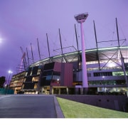 Exterior view of redeveloped Melbourne Cricket Grounds. architecture, arena, sport venue, stadium, structure, purple
