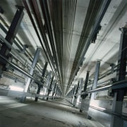 View of lift shaft. - View of lift architecture, building, daylighting, metropolis, metropolitan area, structure, gray, black