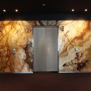 View of lift with marbled wall panels. - art, ceiling, modern art, painting, wall, black