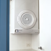 Dryer suspended on wall. - Dryer suspended on home appliance, product, product design, white, gray