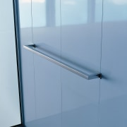View of stainless steel towel rail. - View angle, glass, line, product design, sky, teal, white