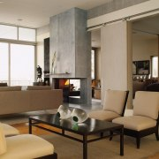 A view of the living area, wooden flooring floor, furniture, interior design, living room, lobby, room, table, brown, gray