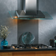 View of angled glass  kitchen hood with glass, interior design, light fixture, lighting, product design, gray, black