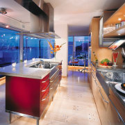Modern kitchen with red island, timber cabinetry, stainless countertop, interior design, kitchen, gray