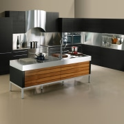 Modern kitchen with apple veneer cabinetry on island, countertop, floor, furniture, interior design, kitchen, product design, table, gray, black