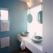 A view of the bathroom, blue and white architecture, bathroom, blue, ceiling, daylighting, floor, home, house, interior design, light fixture, lighting, plumbing fixture, room, sink, wall, window, gray