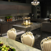 Gray coloured kitchen with stainless steel benchtop and countertop, interior design, kitchen, black