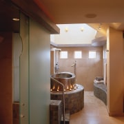 view of this bathroom that is inspired by ceiling, floor, interior design, room, brown