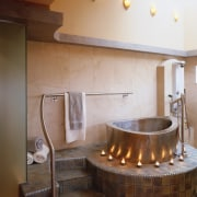 view of this bathroom that is inspired by bathroom, floor, flooring, hearth, interior design, room, sink, brown, gray
