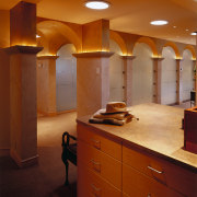 view of the column arches in the central architecture, bathroom, cabinetry, ceiling, countertop, floor, flooring, furniture, home, interior design, kitchen, light fixture, lighting, lobby, room, wall, brown