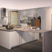 White and grey kitchen with timber island extension, cabinetry, countertop, cuisine classique, interior design, kitchen, gray