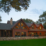 Exterior view of rustic style home. - Exterior cottage, estate, facade, farmhouse, home, house, log cabin, mansion, property, real estate, roof, tree, brown
