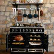 Traditional style range with two convection ovens and chest of drawers, furniture, hearth, kitchen appliance, kitchen stove, masonry oven, table, brown