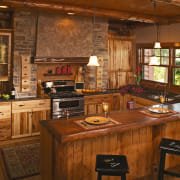 Rustic style kitchen with timber cabinetry, thick timber cabinetry, countertop, cuisine classique, interior design, kitchen, wood, brown