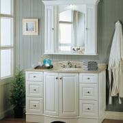 view of this traditonal white timber vanity by bathroom, bathroom accessory, bathroom cabinet, cabinetry, chest of drawers, drawer, floor, furniture, home, interior design, plumbing fixture, room, sink, wood stain, gray