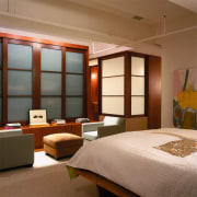 view of this master bedroom leading to the bedroom, ceiling, furniture, interior design, room, suite, window, brown