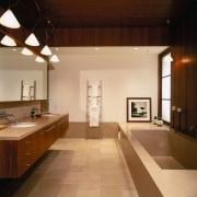 view of the bathroom featuring teak veneer vanity architecture, bathroom, ceiling, countertop, daylighting, floor, flooring, home, house, interior design, real estate, room, sink, orange, brown