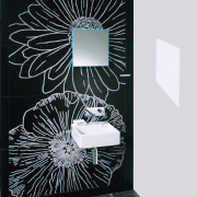 view of this bathroom featuring espirt wall tile, black and white, design, product design, black, white