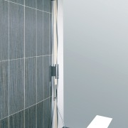 view of the shower enclosure with stainless fittings angle, glass, plumbing fixture, product design, shower, gray
