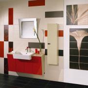 view of this bathroom featuring calore &calore wall bathroom, bathroom accessory, bathroom cabinet, floor, flooring, furniture, interior design, product design, room, shelf, tile, wall, gray