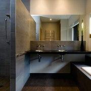 A view of a bathroom by NKBA. - architecture, bathroom, countertop, floor, interior design, kitchen, room, sink, black