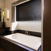A view of a bathroom by NKBA. - bathroom, interior design, room, sink, black