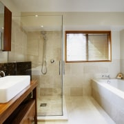 A view of a bathroom by NKBA. - architecture, bathroom, estate, floor, home, interior design, property, real estate, room, sink, gray