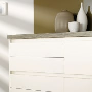 A view ofsome laninex benchtops. - A view chest of drawers, drawer, furniture, product, product design, sideboard, white