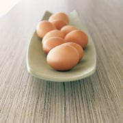 A view of a laminated benchtop. - A egg, gray