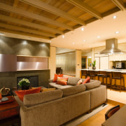 view of the formali living area looking out ceiling, interior design, living room, lobby, real estate, brown, orange