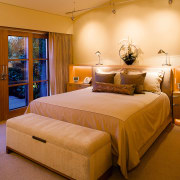 view of the master bedroom  with an bed, bed frame, bedroom, ceiling, interior design, real estate, room, suite, orange, brown