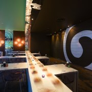 view of the interior of the sushi bar architecture, design, furniture, glass, interior design, table, wood, black