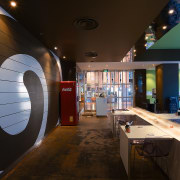 view of the interior of the sushi bar ceiling, interior design, black