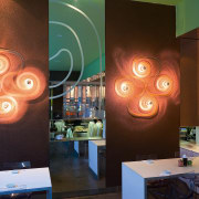 view of the interior of the sushi bar ceiling, interior design, light fixture, lighting, lighting accessory, table, brown