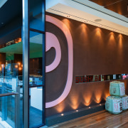 view of the interior of the sushi bar glass, interior design, brown